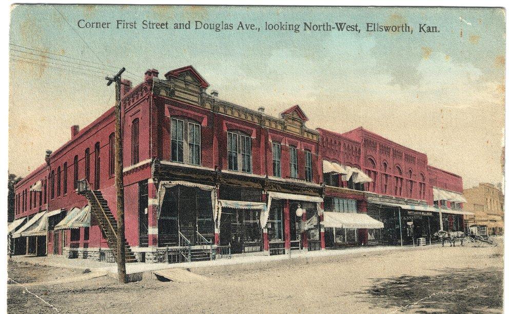 First Street and Douglas Avenue in Ellsworth, Kansas