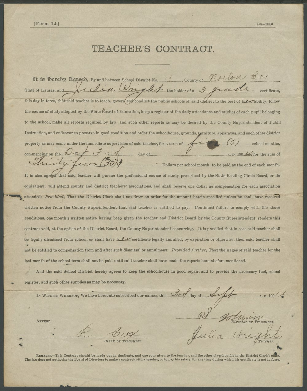 Julia Wright's teaching contract - 1