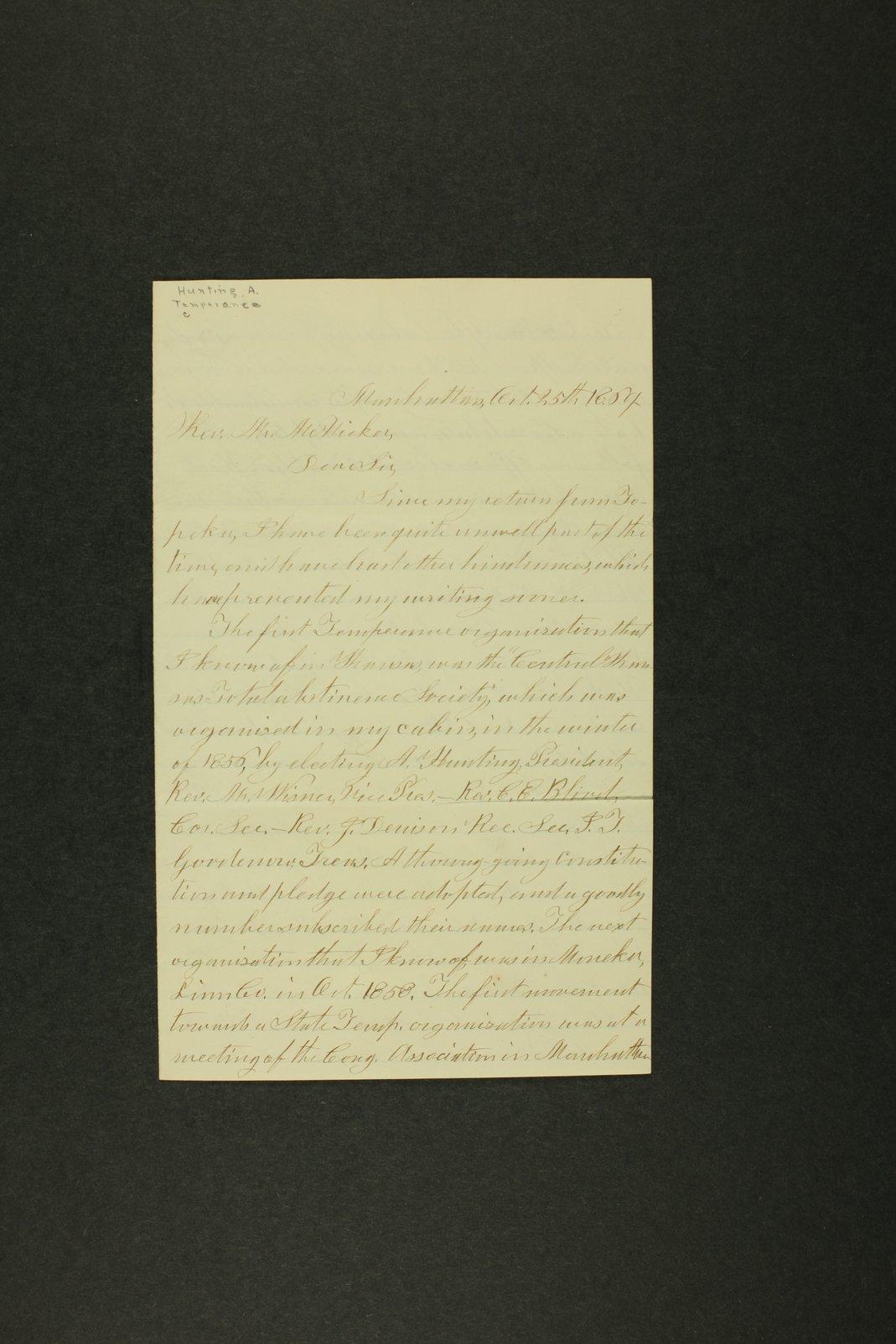 Temperance history correspondence - 1 [1858-1881]