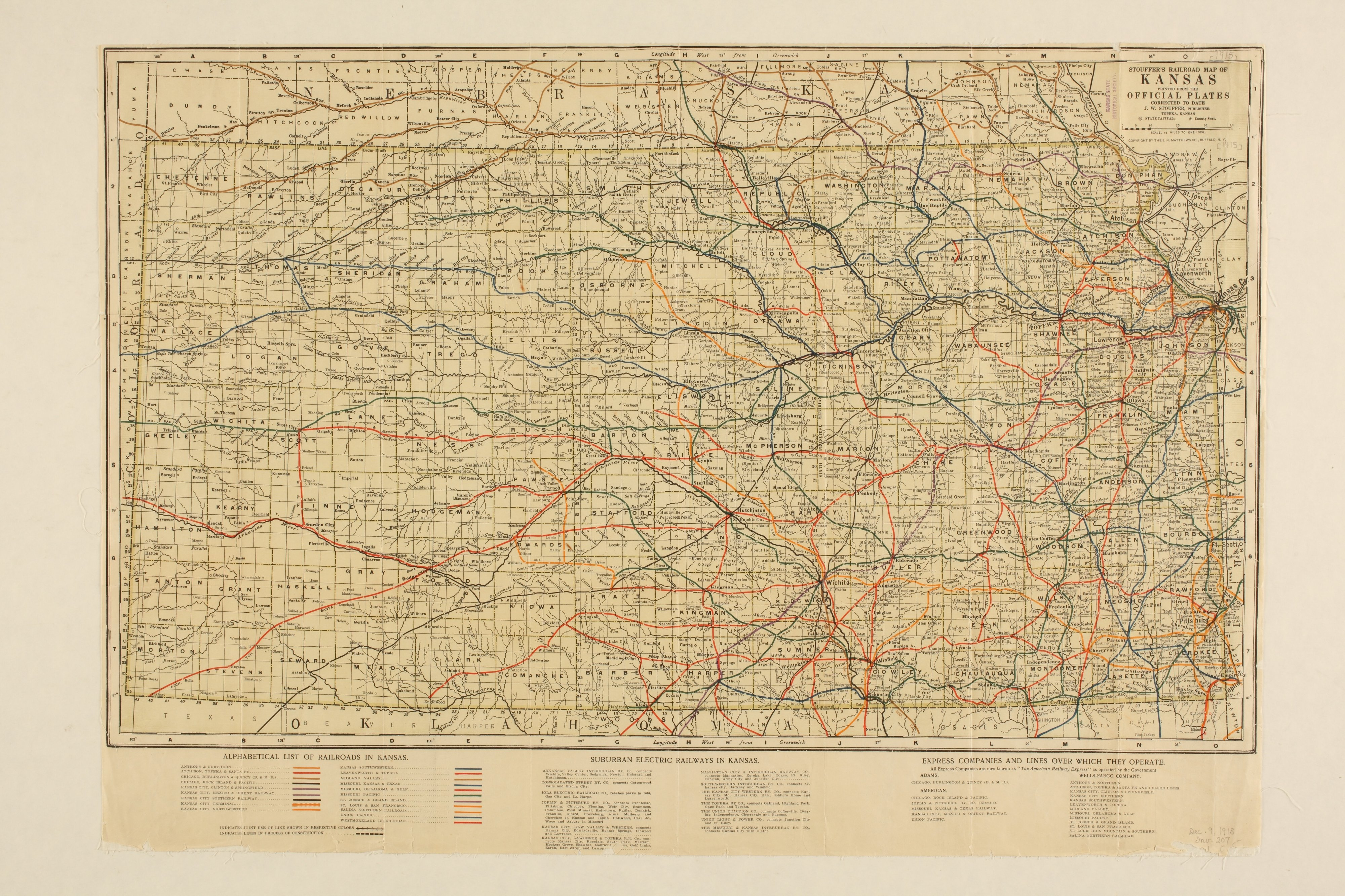 Stouffer's railroad map of Kansas   Kansas Memory   Kansas