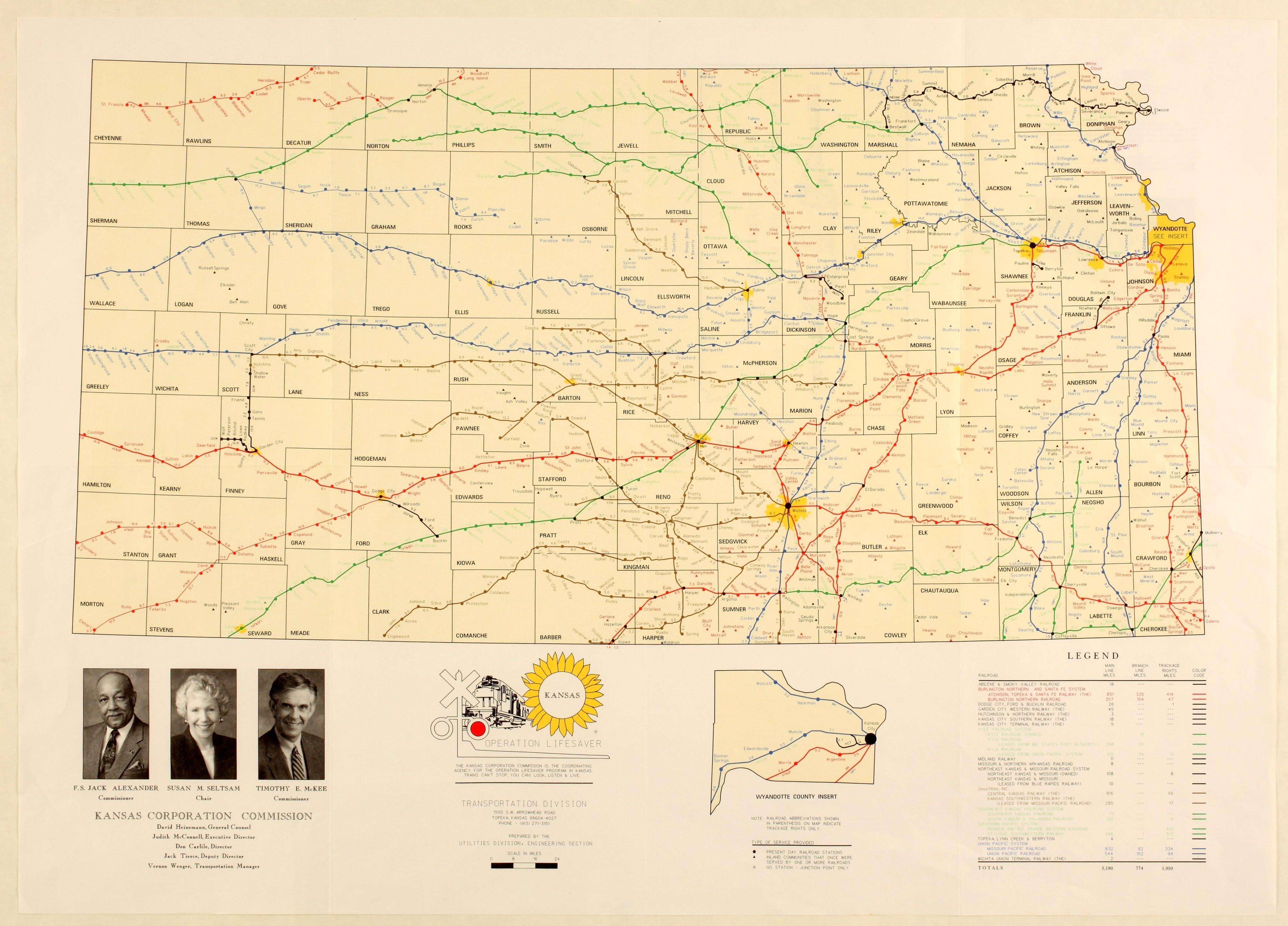 State Map Of Kansas.Official Kansas State Railroad Map Kansas Memory Kansas