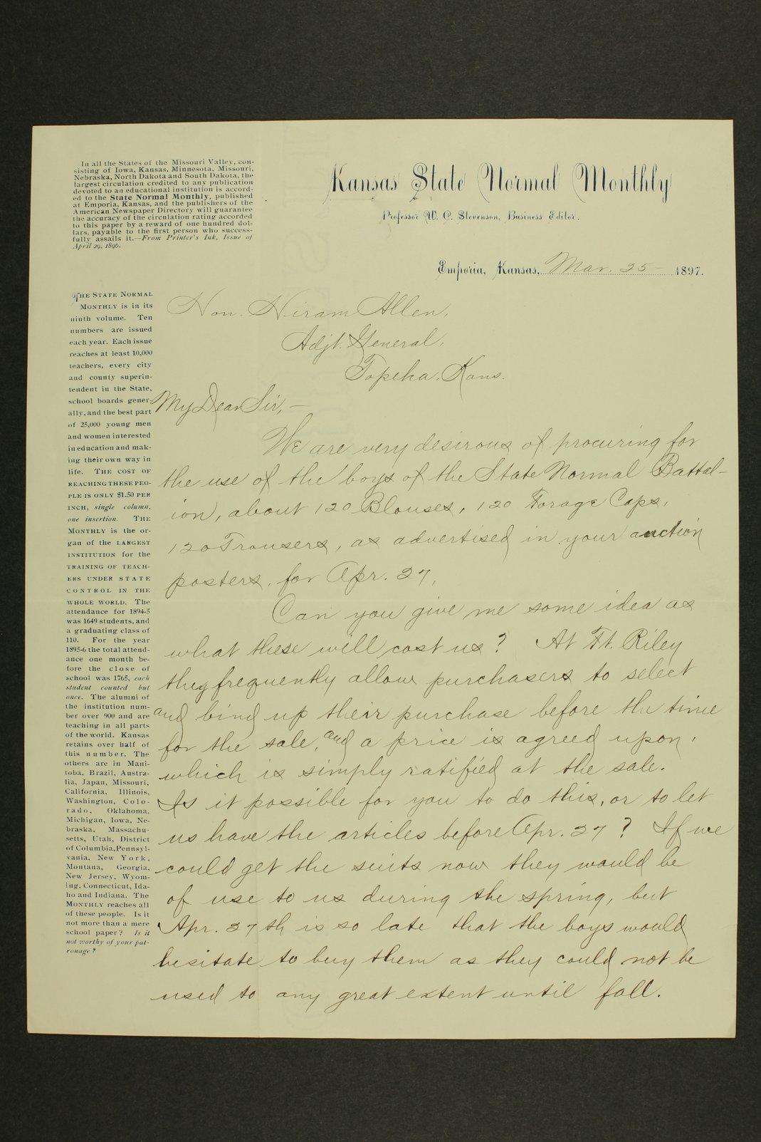 Kansas Adjutant General miscellaneous correspondence - 7