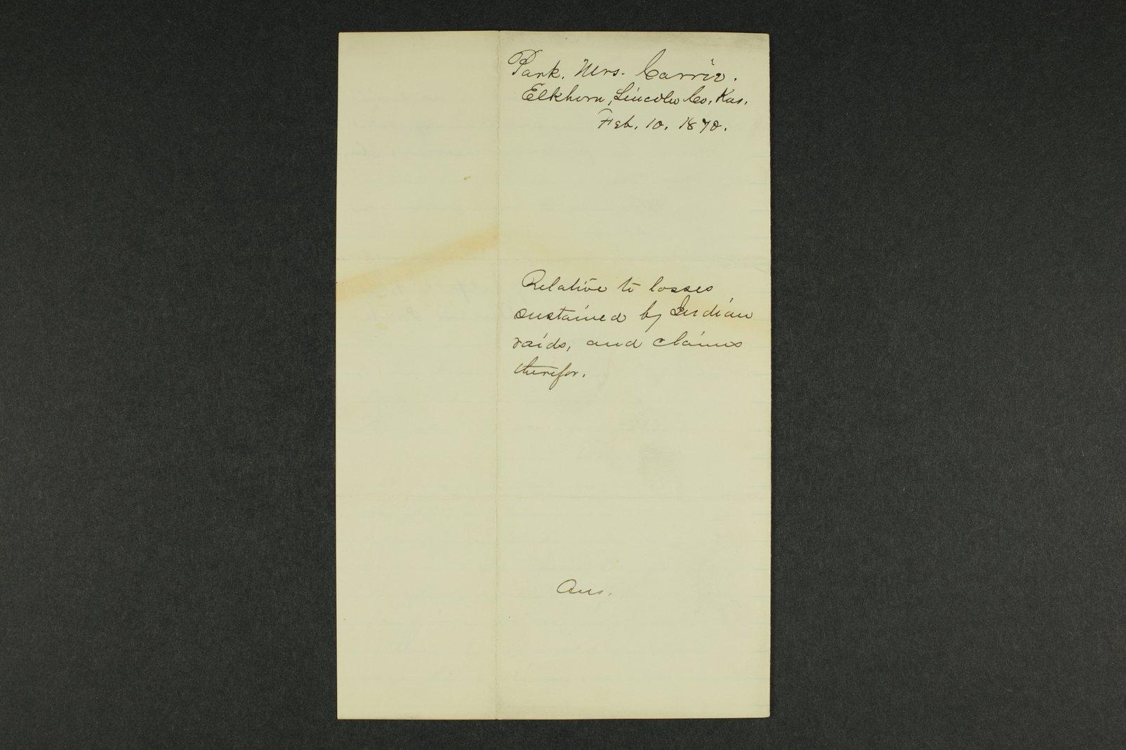 Kansas Adjutant General general correspondence, 1870 - 5