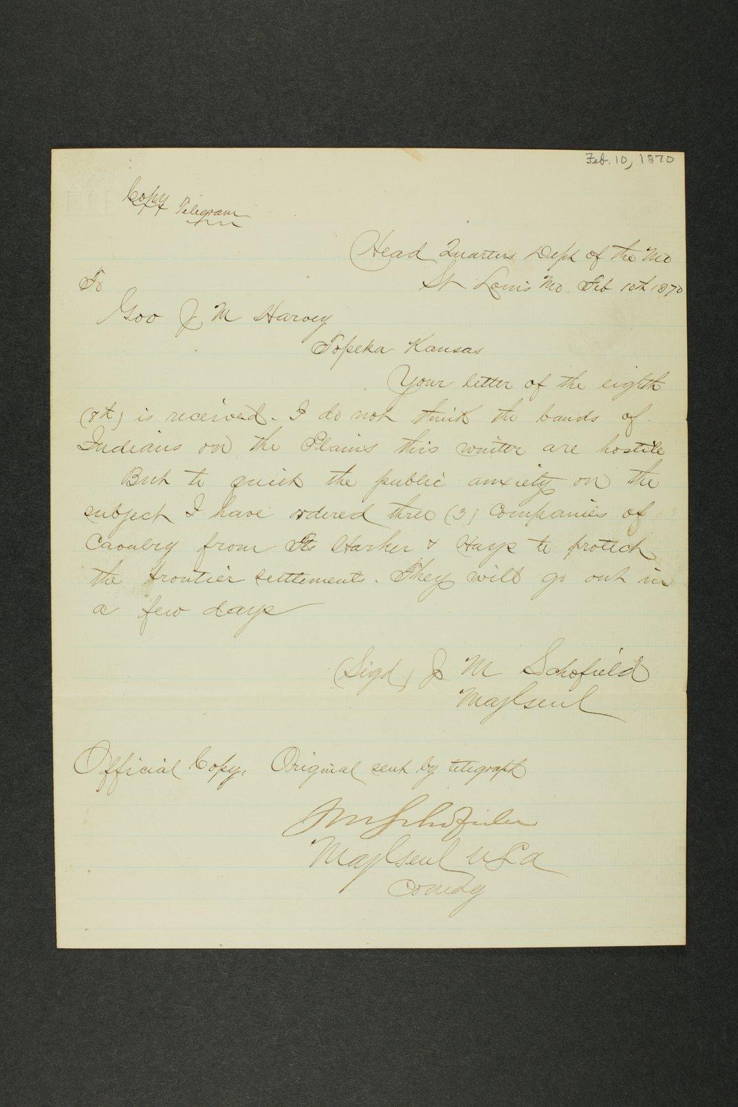 Kansas Adjutant General general correspondence, 1870 - 6