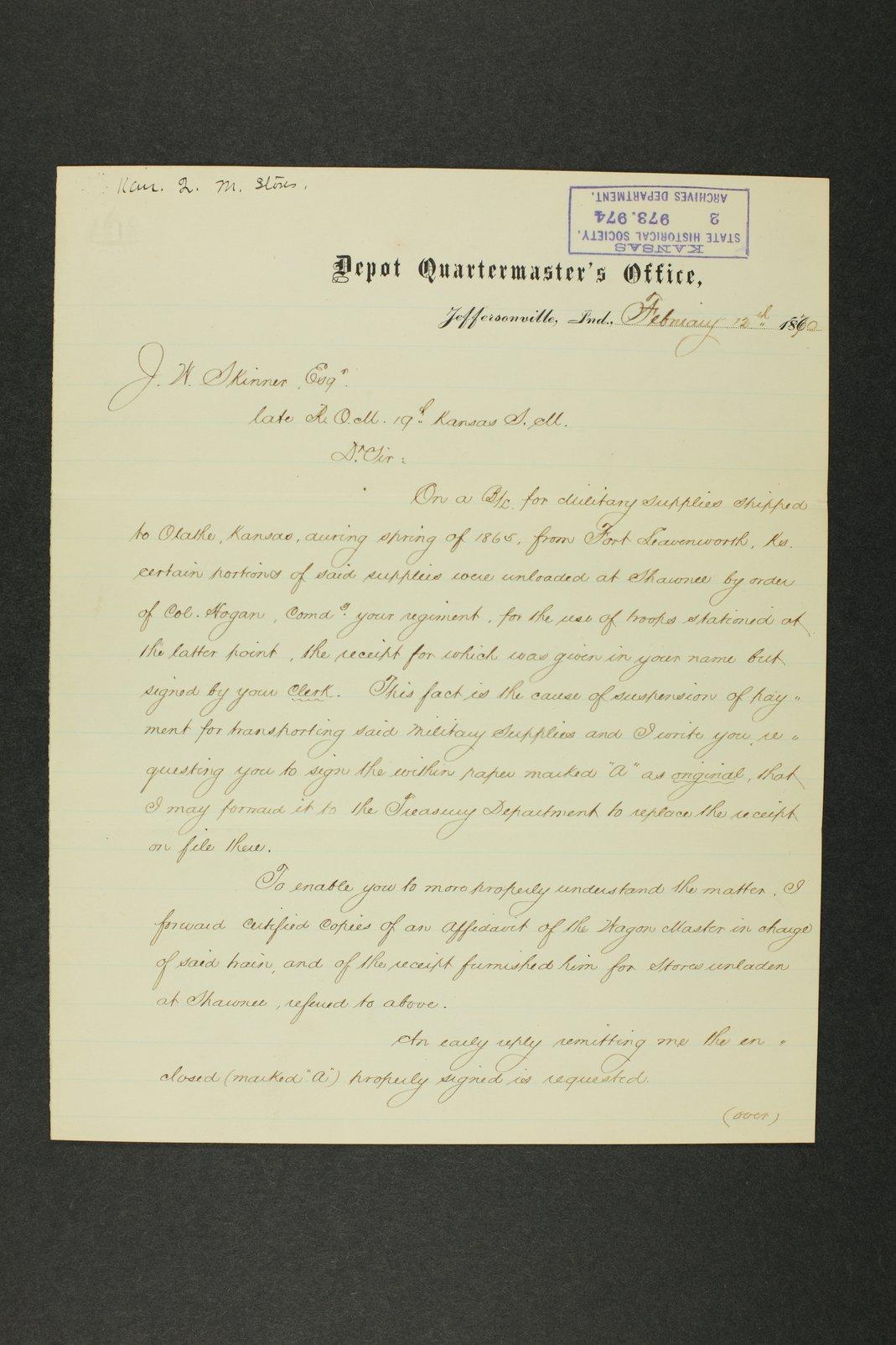 Kansas Adjutant General general correspondence, 1870 - 8