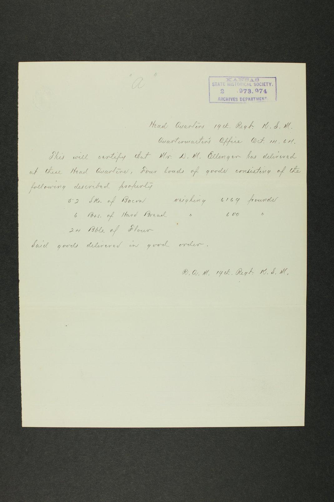 Kansas Adjutant General general correspondence, 1870 - 10