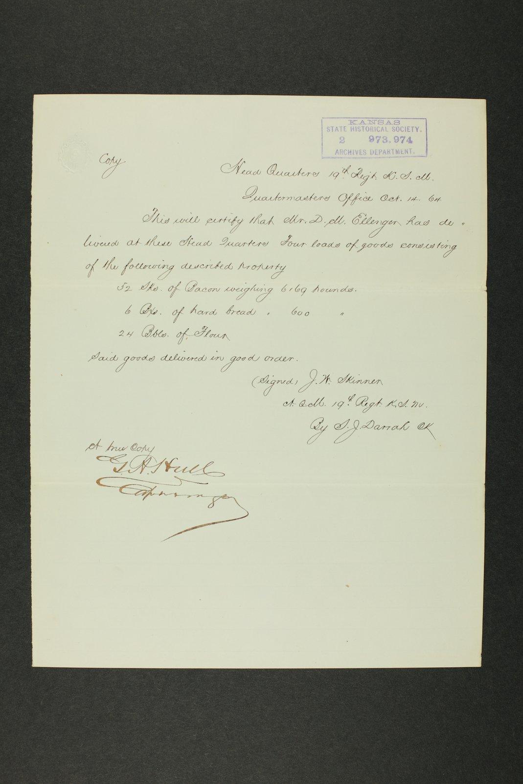 Kansas Adjutant General general correspondence, 1870 - 11