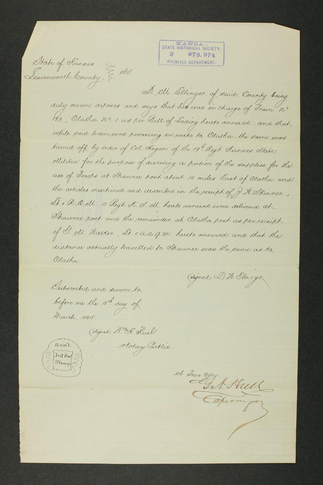 Kansas Adjutant General general correspondence, 1870 - 12
