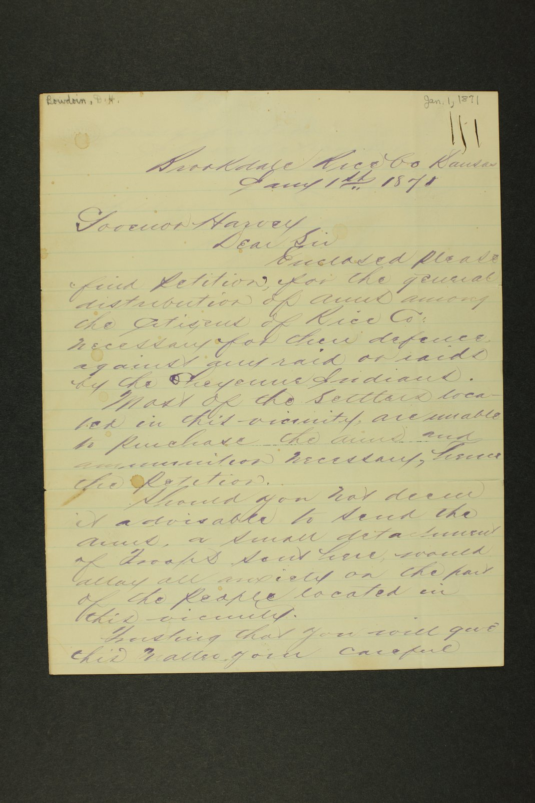 Kansas Adjutant General general correspondence, 1871 - 1 [January - April 1871]