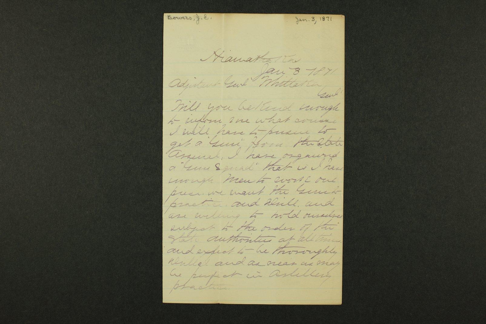 Kansas Adjutant General general correspondence, 1871 - 6