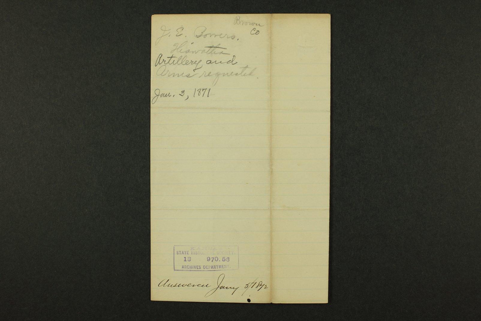 Kansas Adjutant General general correspondence, 1871 - 8