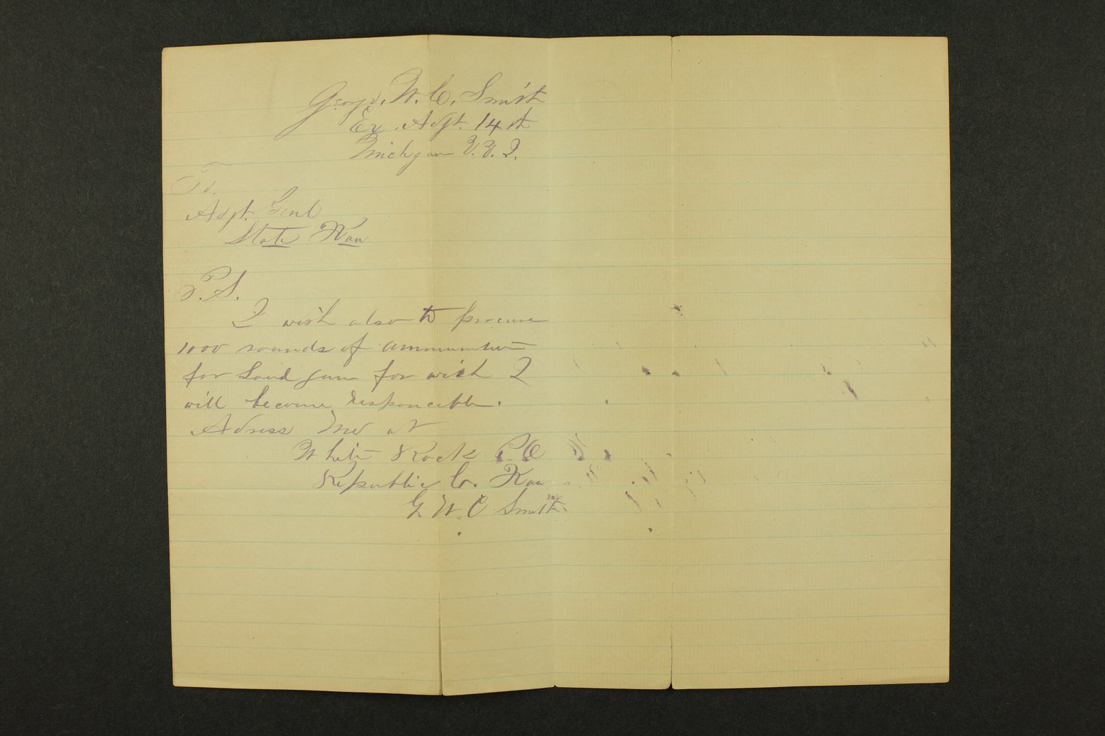 Kansas Adjutant General general correspondence, 1871 - 10