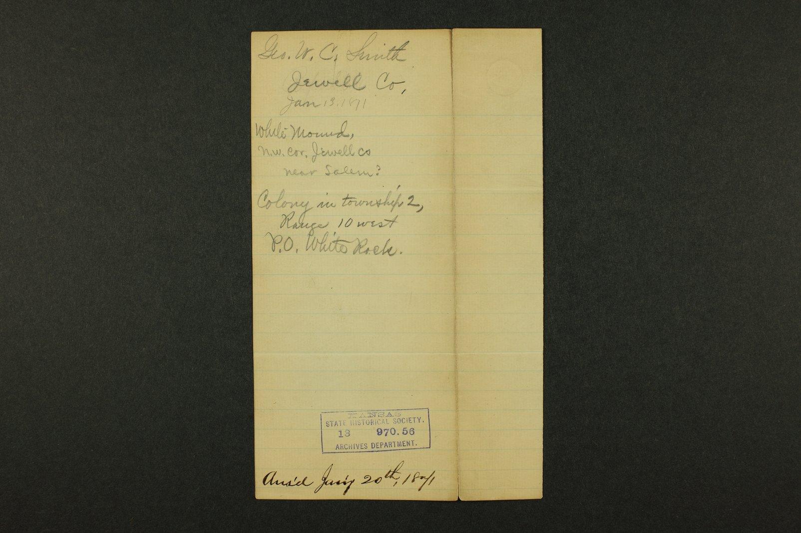 Kansas Adjutant General general correspondence, 1871 - 11