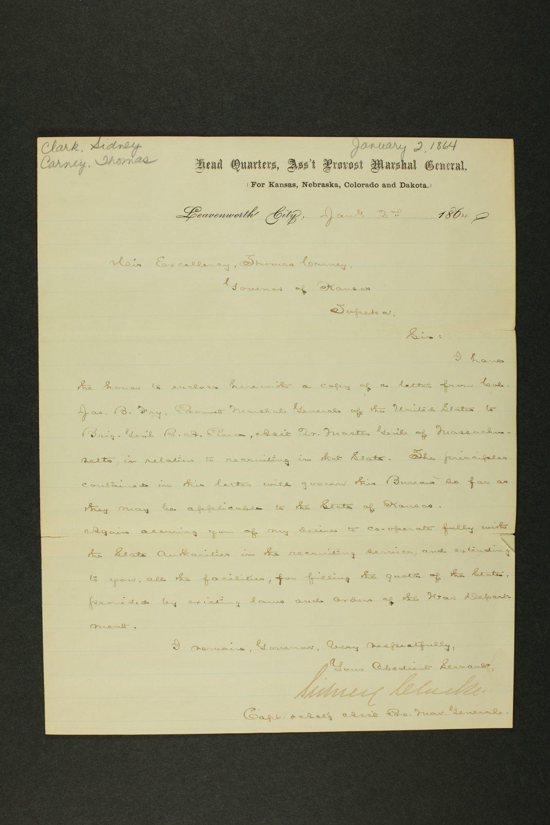 Kansas Adjutant General general correspondence - 1 [January - March 1864]