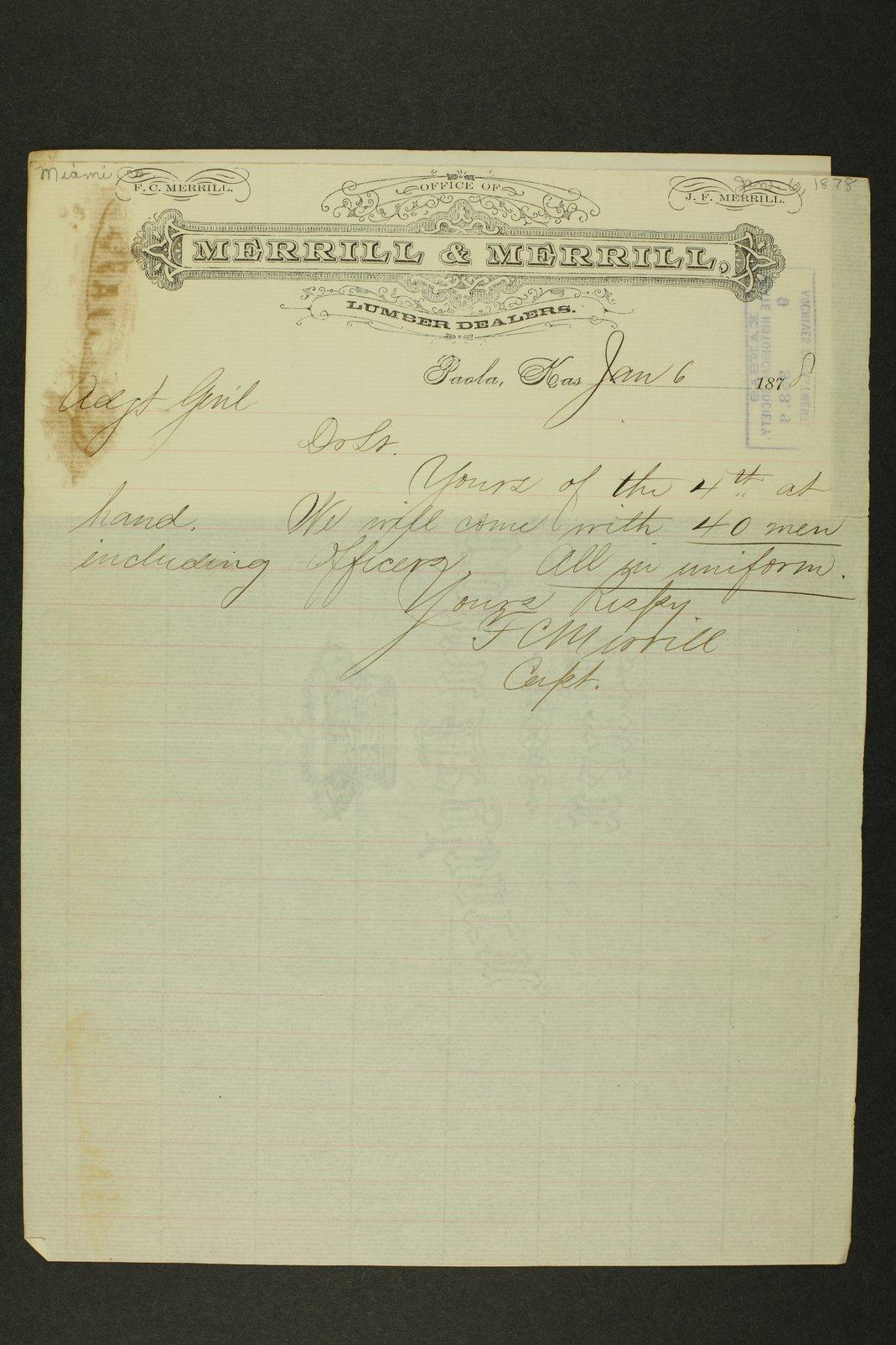 Kansas Adjutant General general correspondence - 1 [January - April 1878]