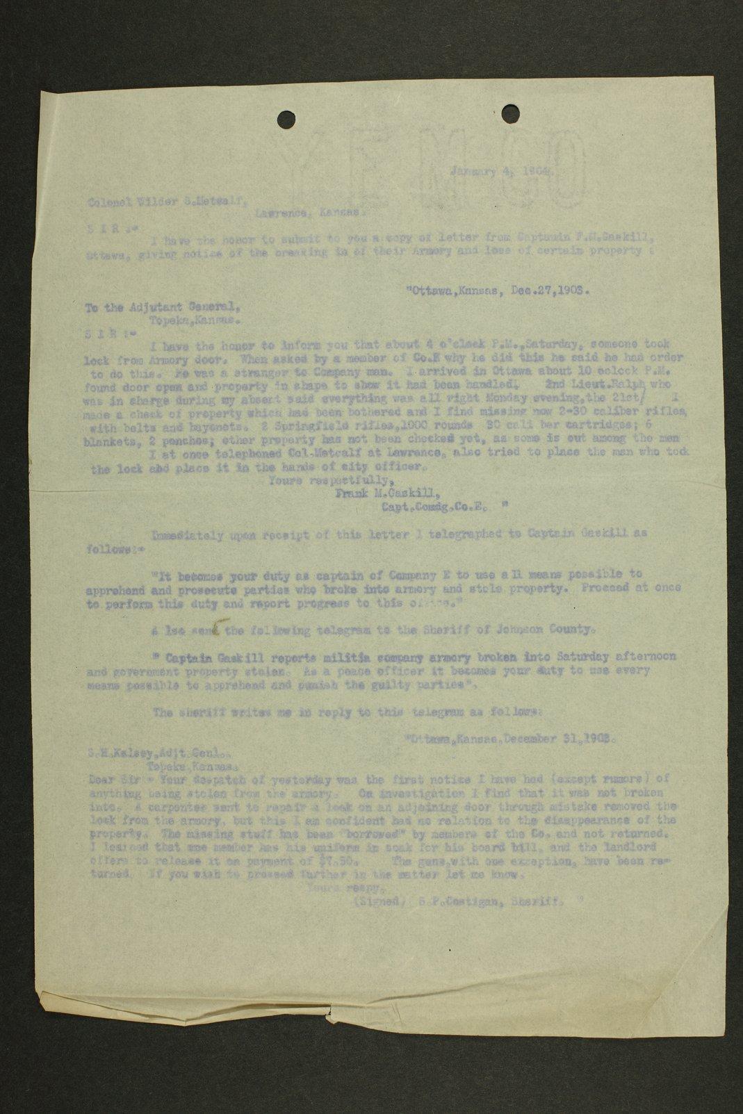 Kansas Adjutant General miscellaneous correspondence - 2