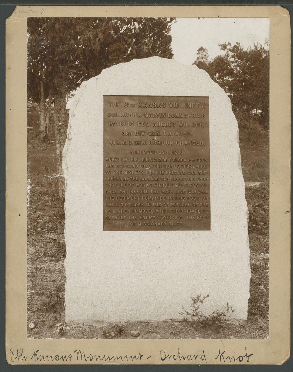 8th Kansas Volunteer Infantry monument at Missionary Ridge - *5