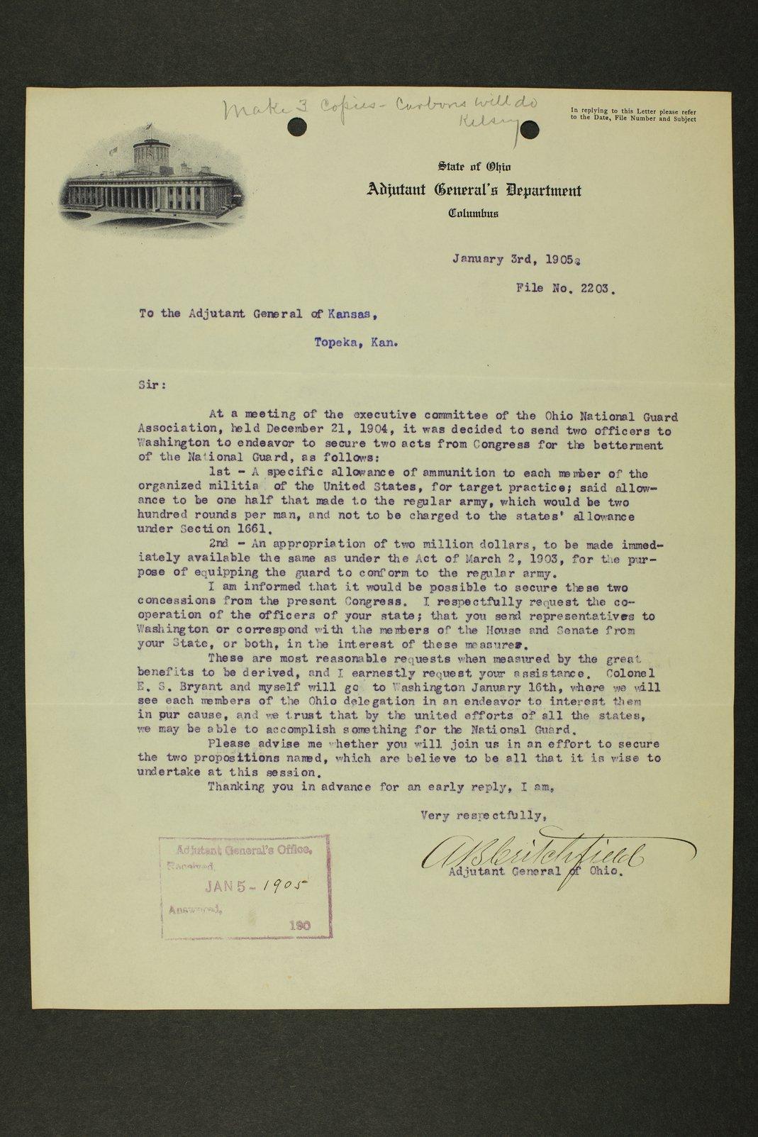 Kansas Adjutant General miscellaneous correspondence - 1