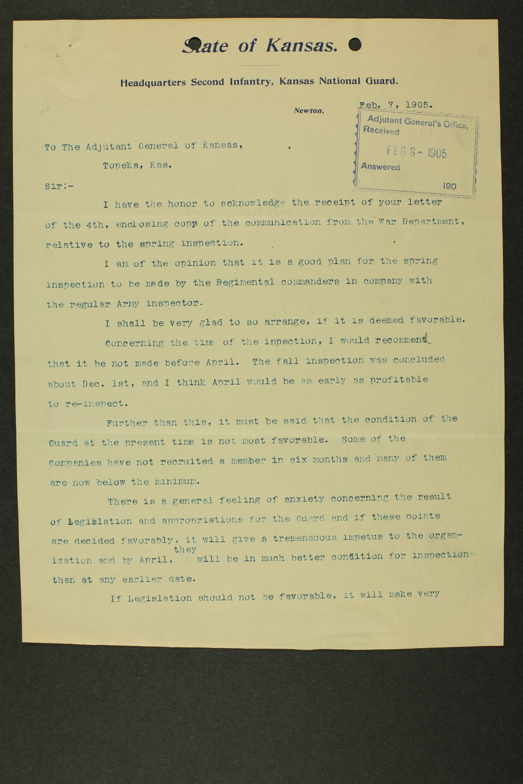 Kansas Adjutant General miscellaneous correspondence - 11