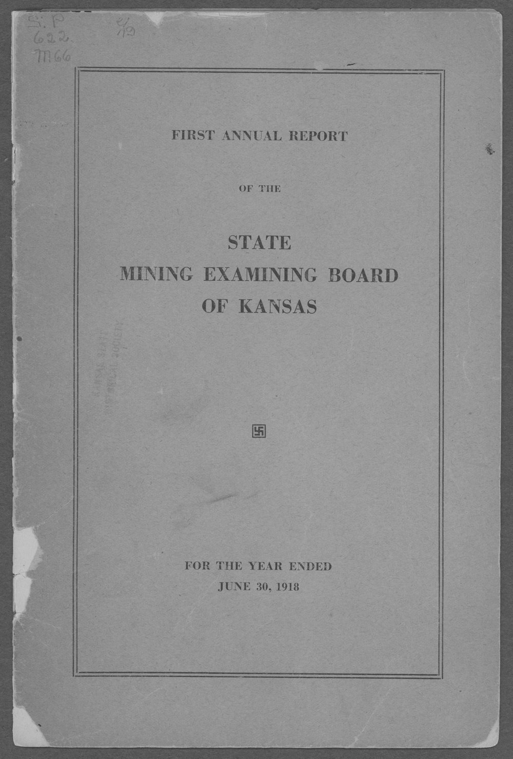 First Annual Report of the State Mining Examining Board of Kansas - Front Cover