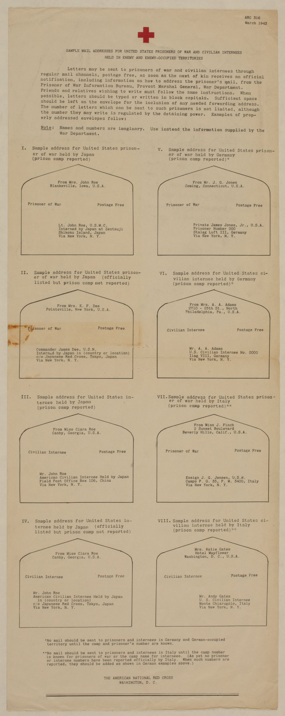 Sample Addresses for United States Prisoners of War and Civilian Internees Held in Enemy and Enemy-Occupied Territories