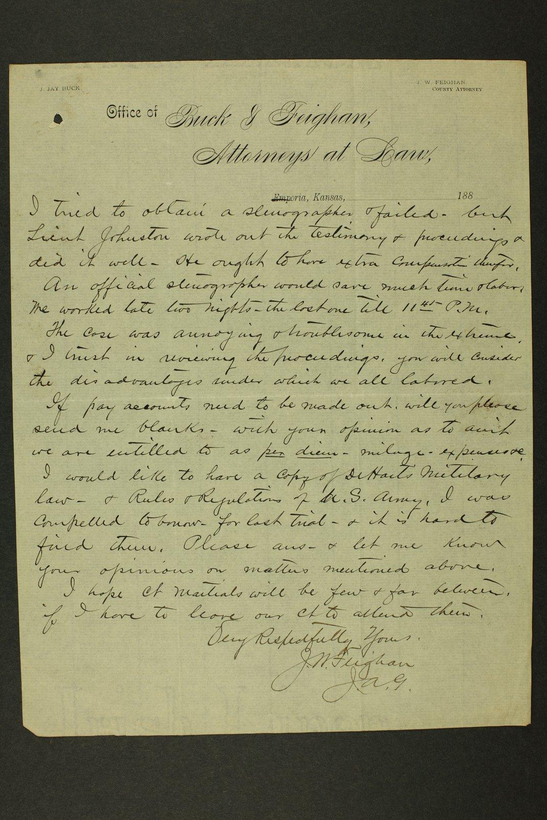 Kansas Adjutant General miscellaneous correpondence - 11