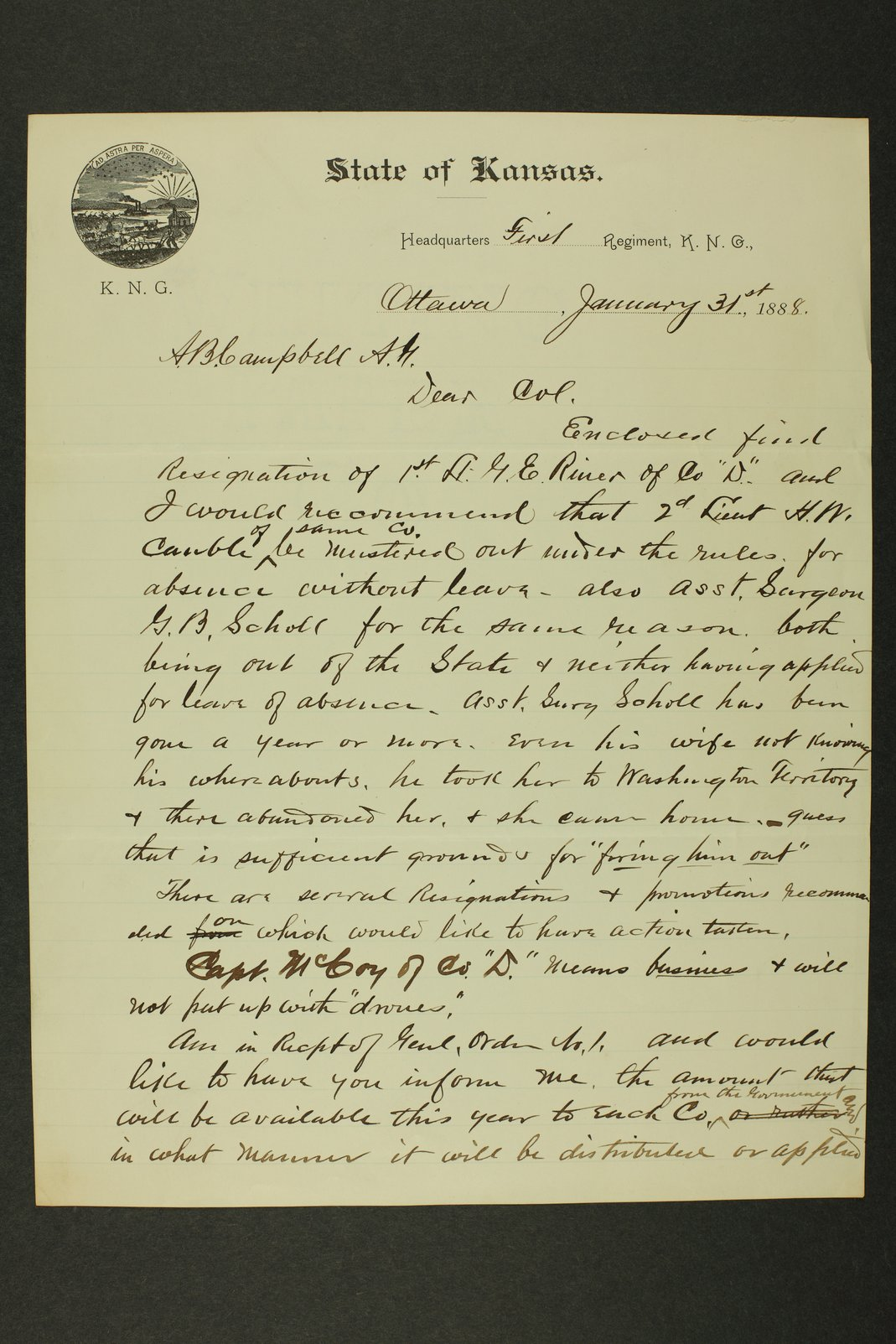 Kansas Adjutant General miscellaneous correspondence - 10