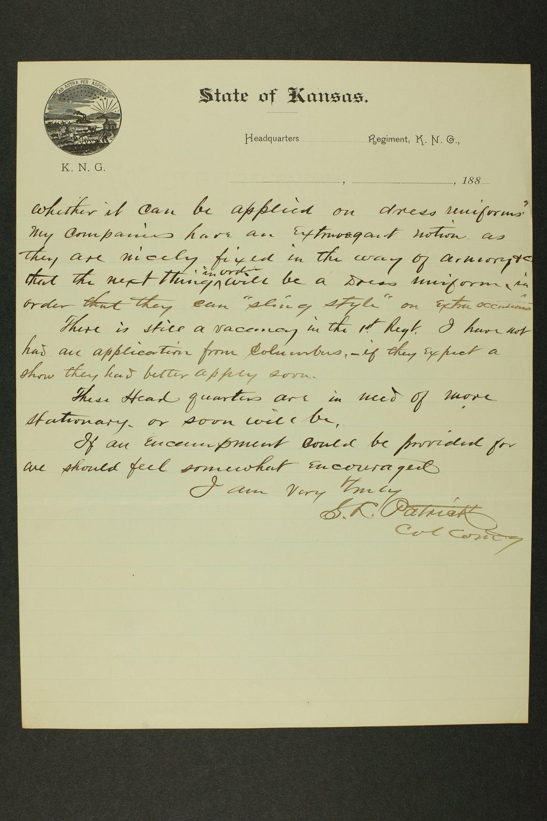 Kansas Adjutant General miscellaneous correspondence - 11
