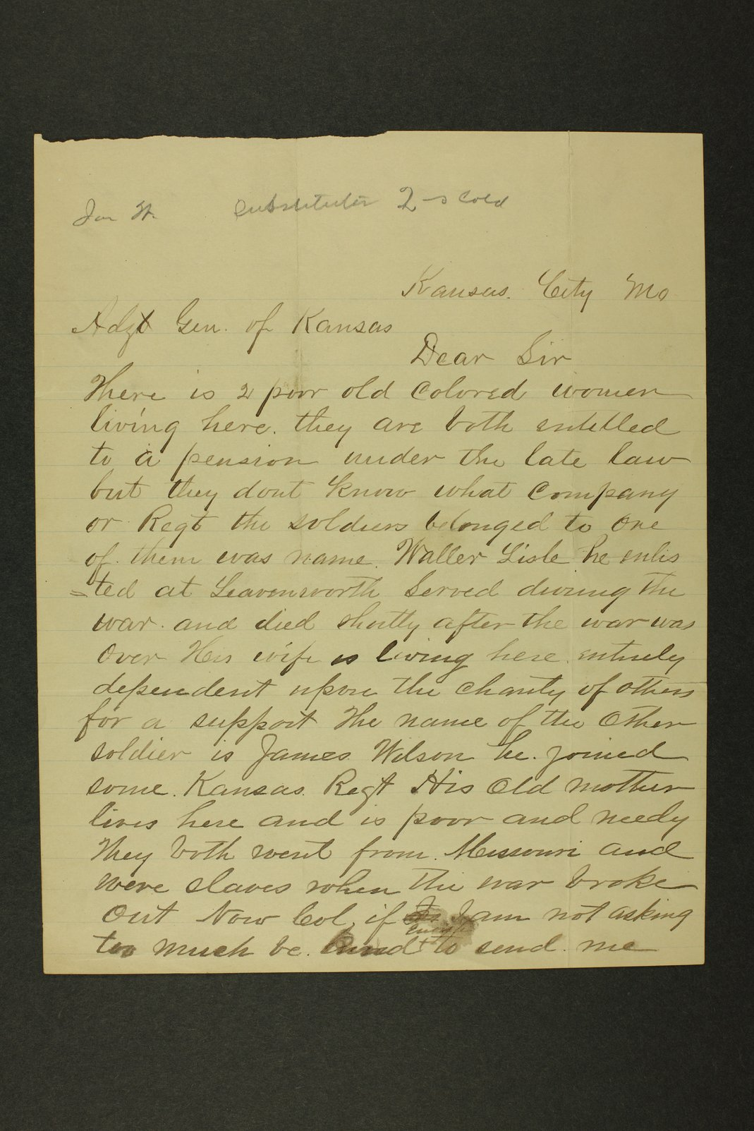 Kansas Adjutant General miscellaneous correspondence - 1 [January - October 1890]