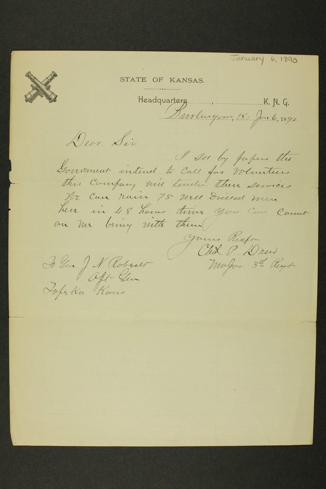 Kansas Adjutant General miscellaneous correspondence - 6