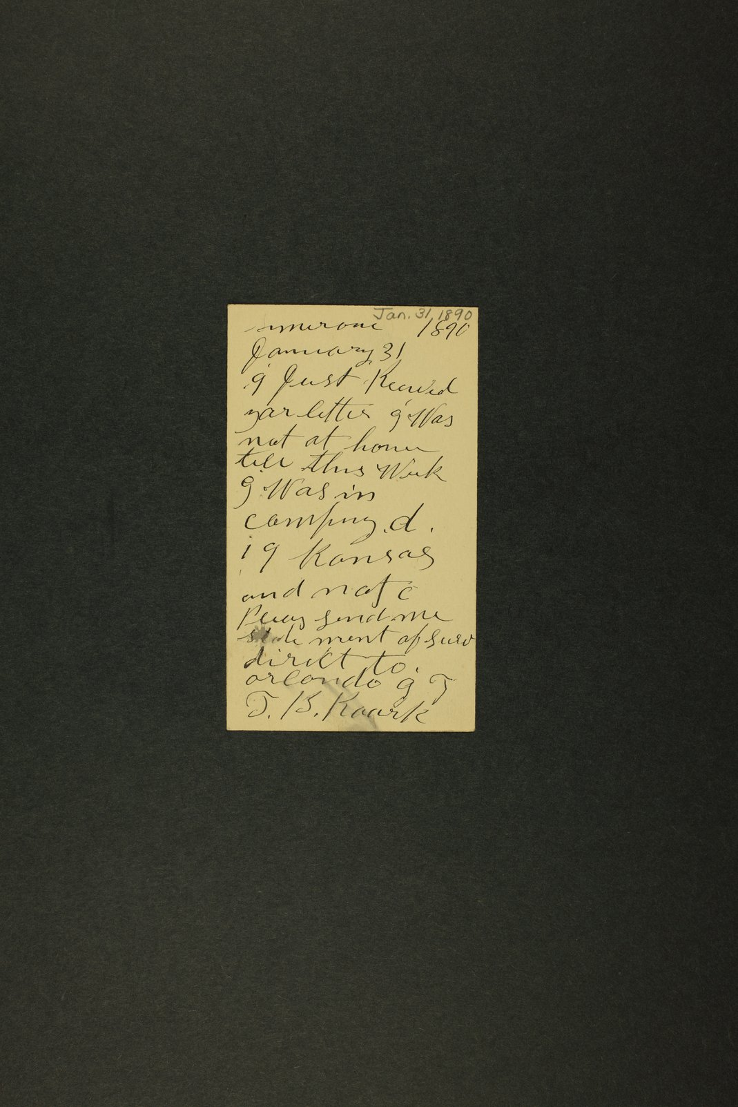 Kansas Adjutant General miscellaneous correspondence - 12