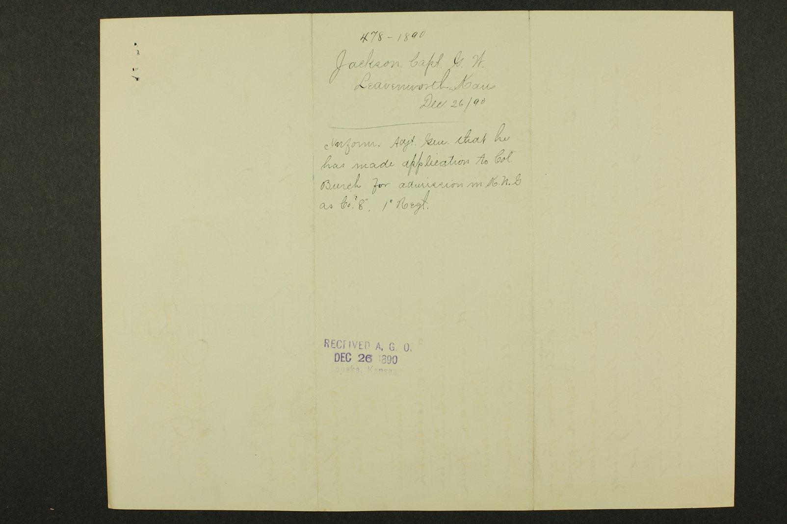 Kansas Adjutant General miscellaneous correspondence - 236
