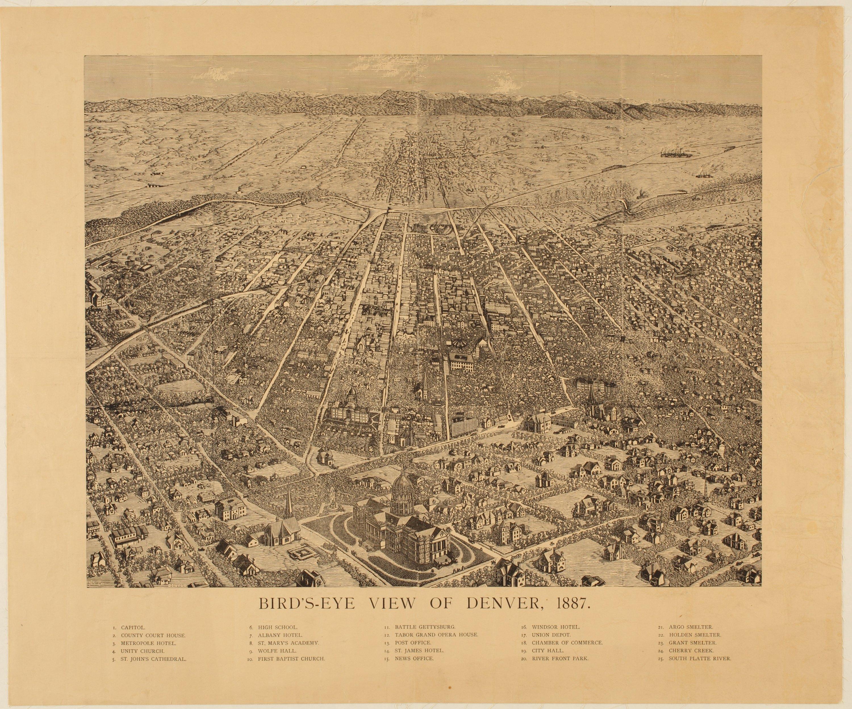 Bird's eye view of Denver, Colorado - Kansas Memory - Kansas