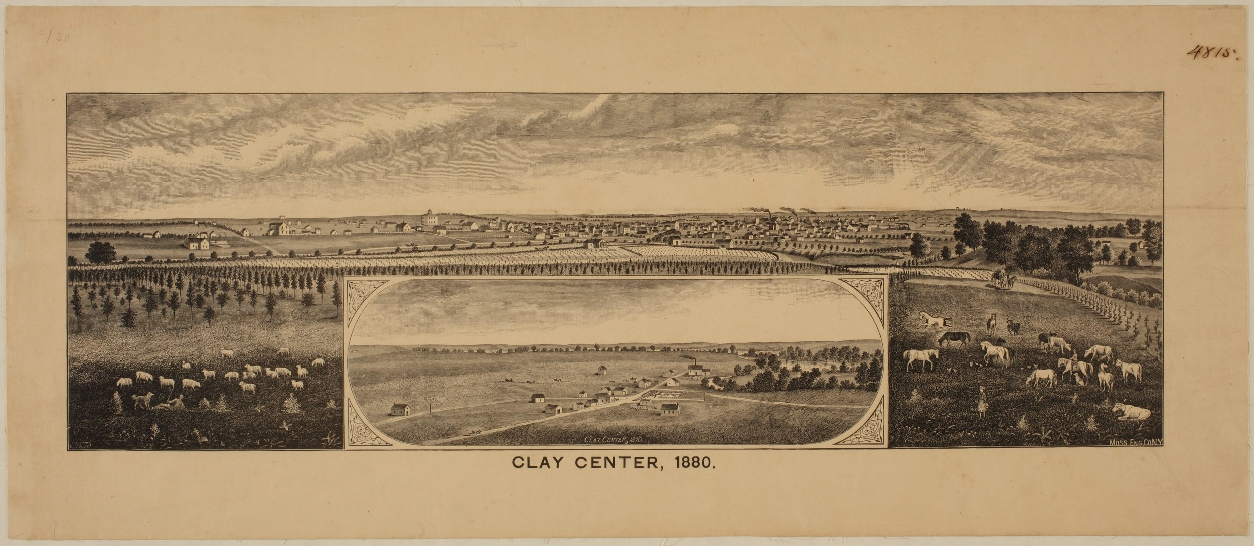Bird's Eye View of Clay Center, Clay County, Kansas