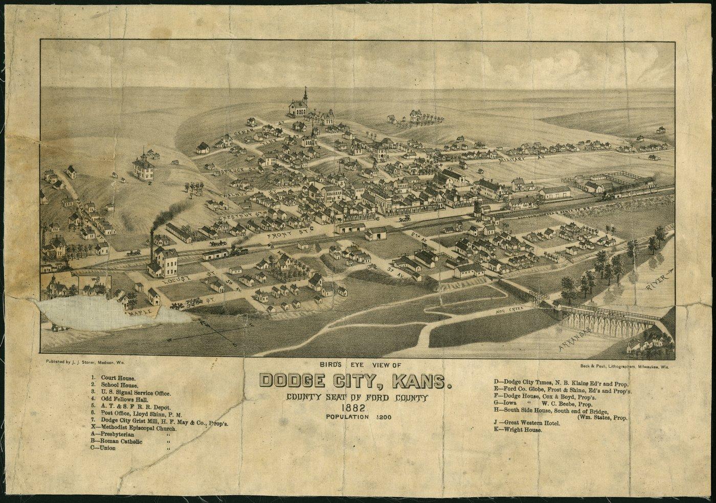 Bird's eye view of Dodge City, Ford County, Kansas