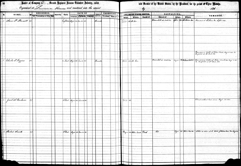 Muster in rolls, Second Regiment, Infantry, Kansas Civil War Volunteers, volume 1 - 114