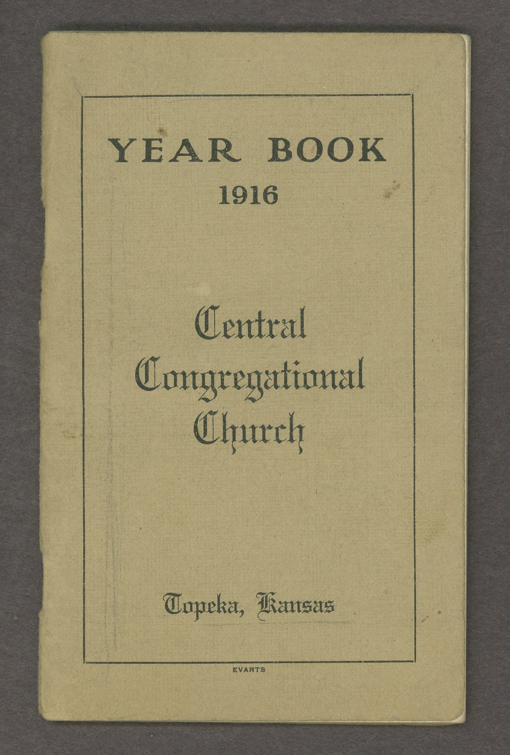 Central Congregational Church yearbooks - Front Cover [1916]