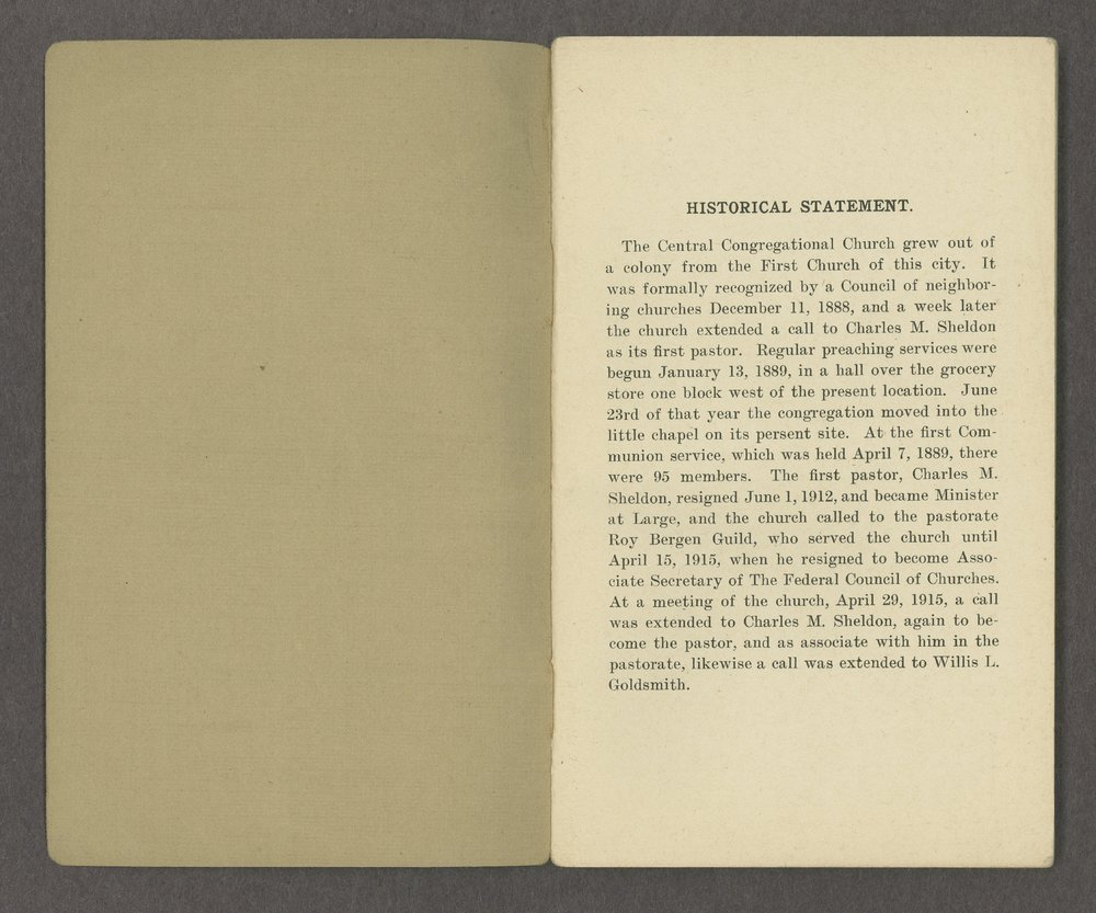 Central Congregational Church yearbooks - 1