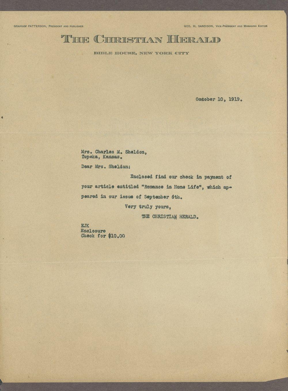 Mary M. Sheldon correspondence - 1