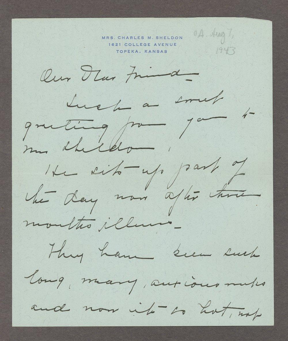 Mary M. Sheldon correspondence - 5