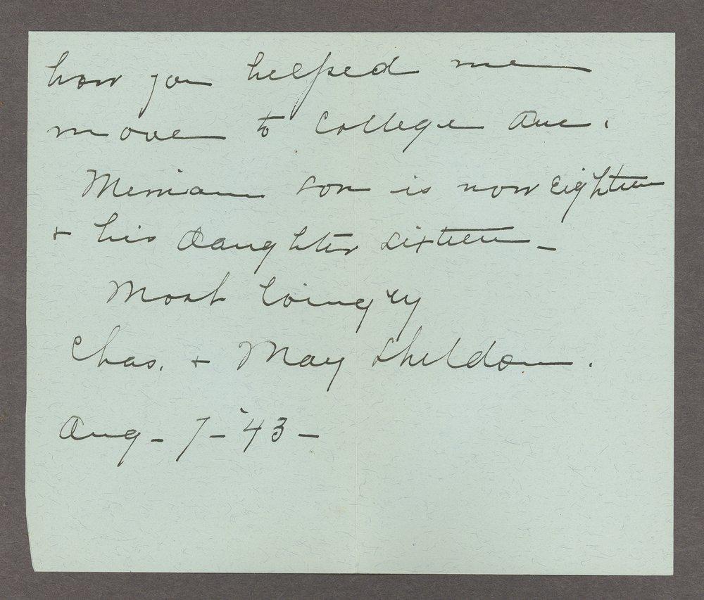 Mary M. Sheldon correspondence - 7