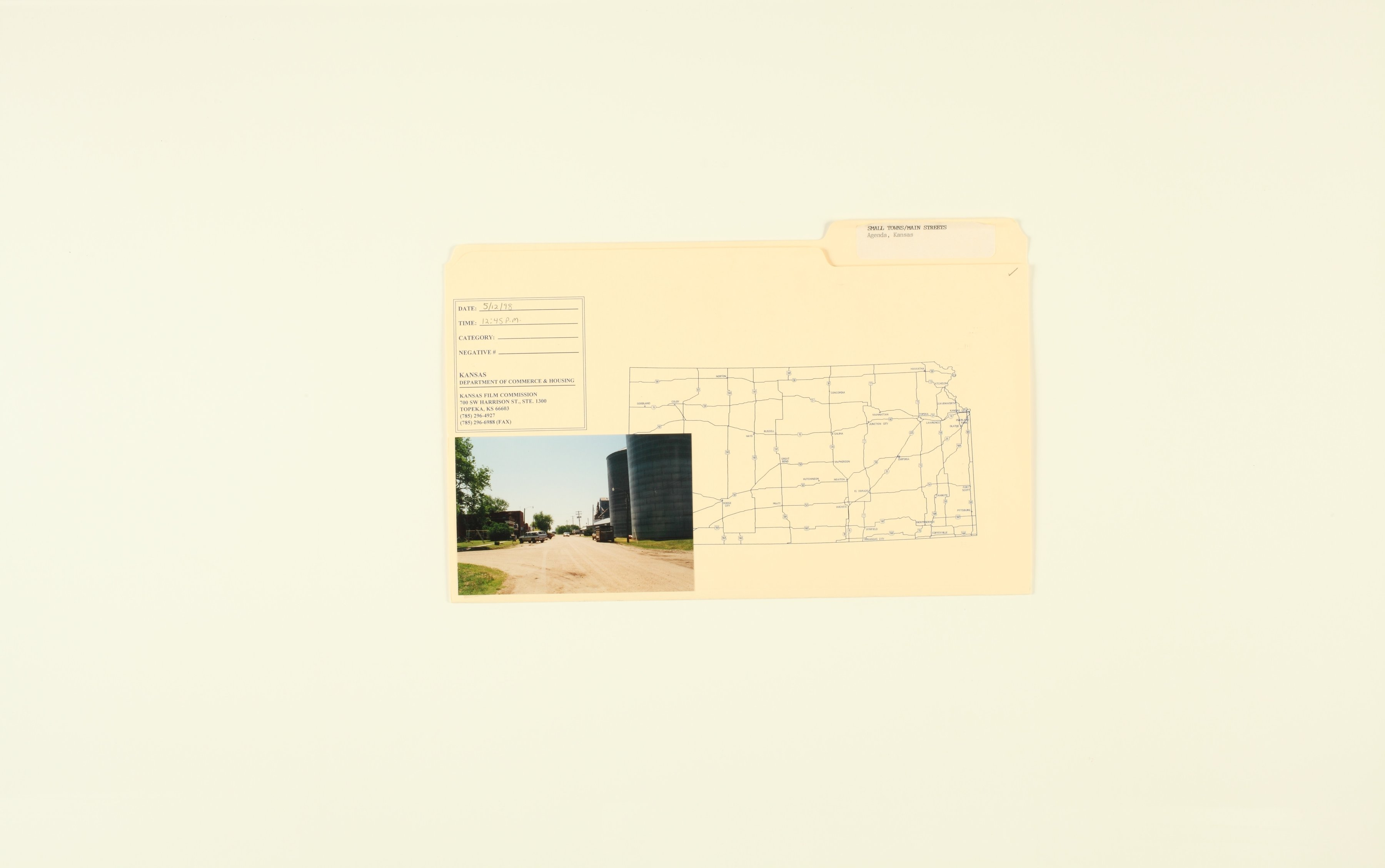 Kansas Film Commission site photographs, towns Ada - Bunker Hill - 5, Agenda