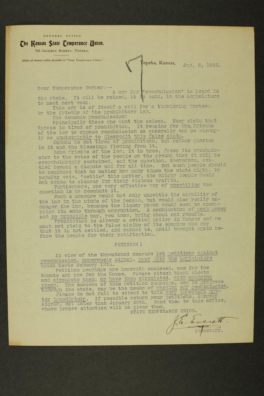 Temperance history correspondence - 1 [January 1903]