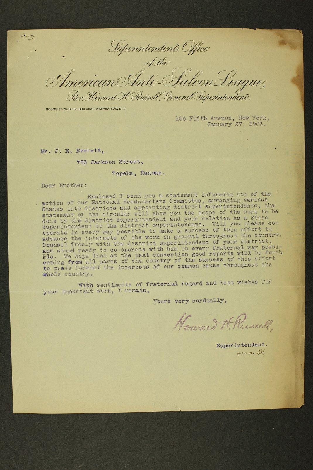 Temperance history correspondence - 2