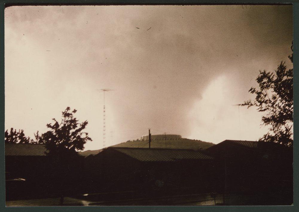 Tornado coming over Burnett's Mound in Topeka, Kansas