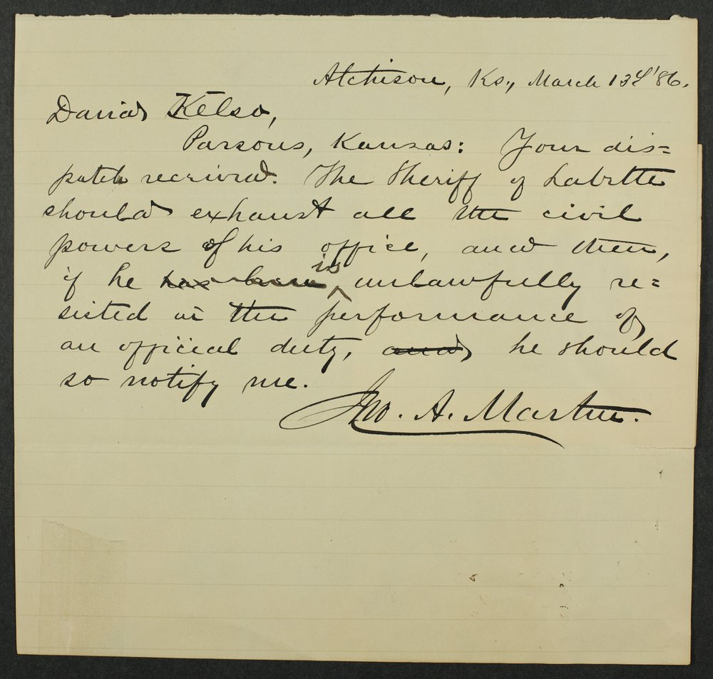 Correspondence to David Kelso from Governor John Martin - 1