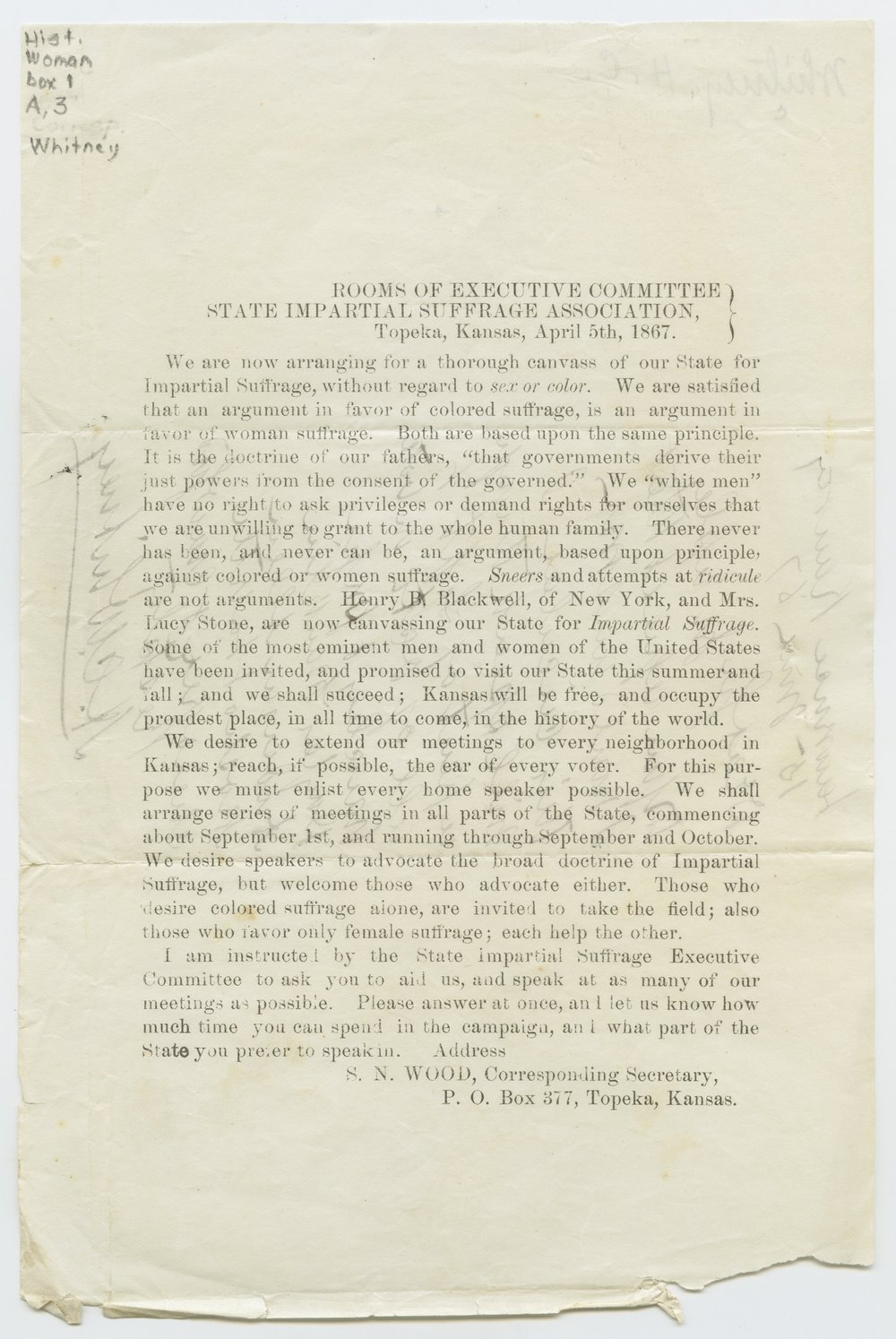 Circular of the State Impartial Suffrage Association - 1