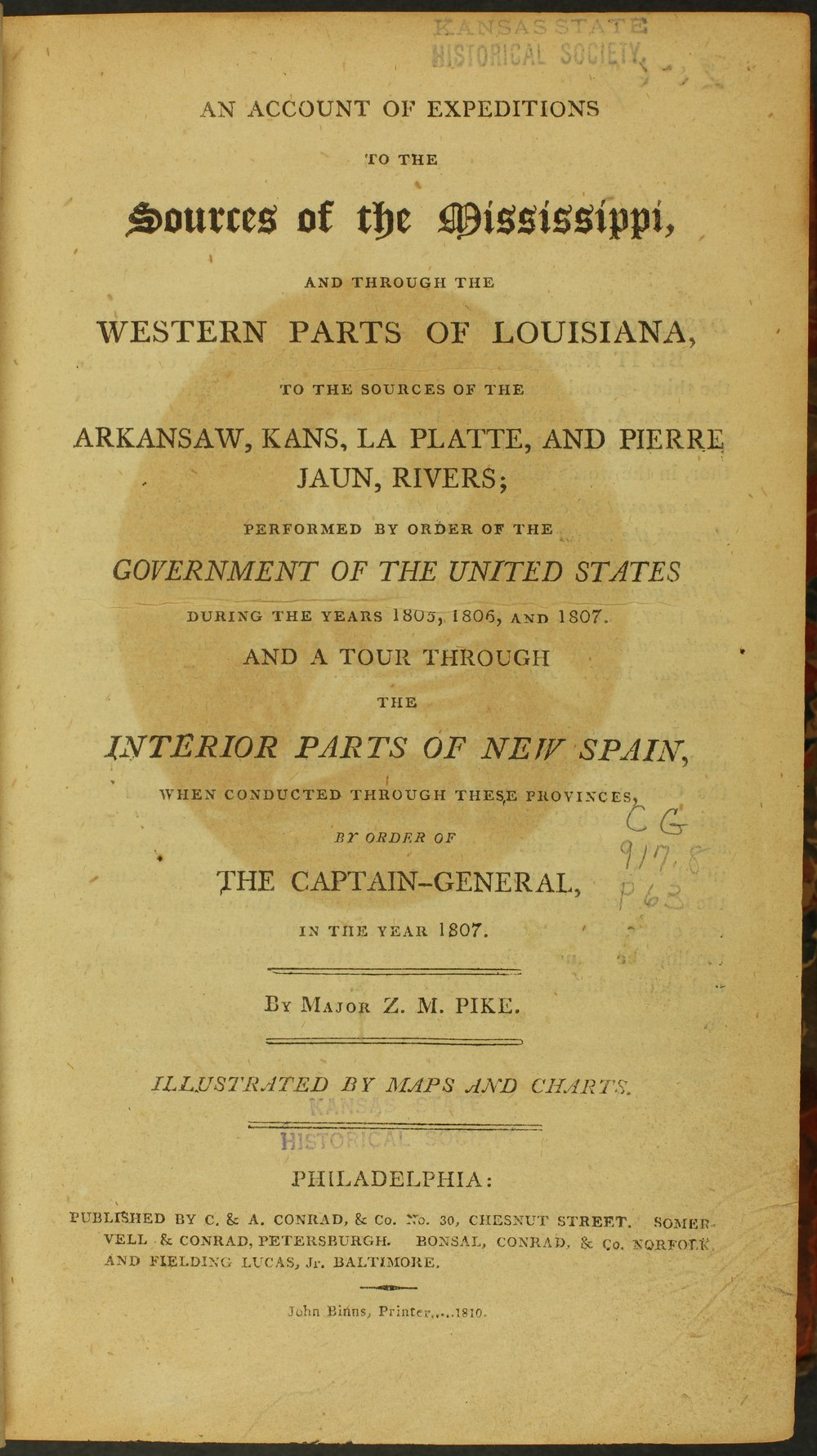 Front page of account of Major Zebulon M. Pike's exploration