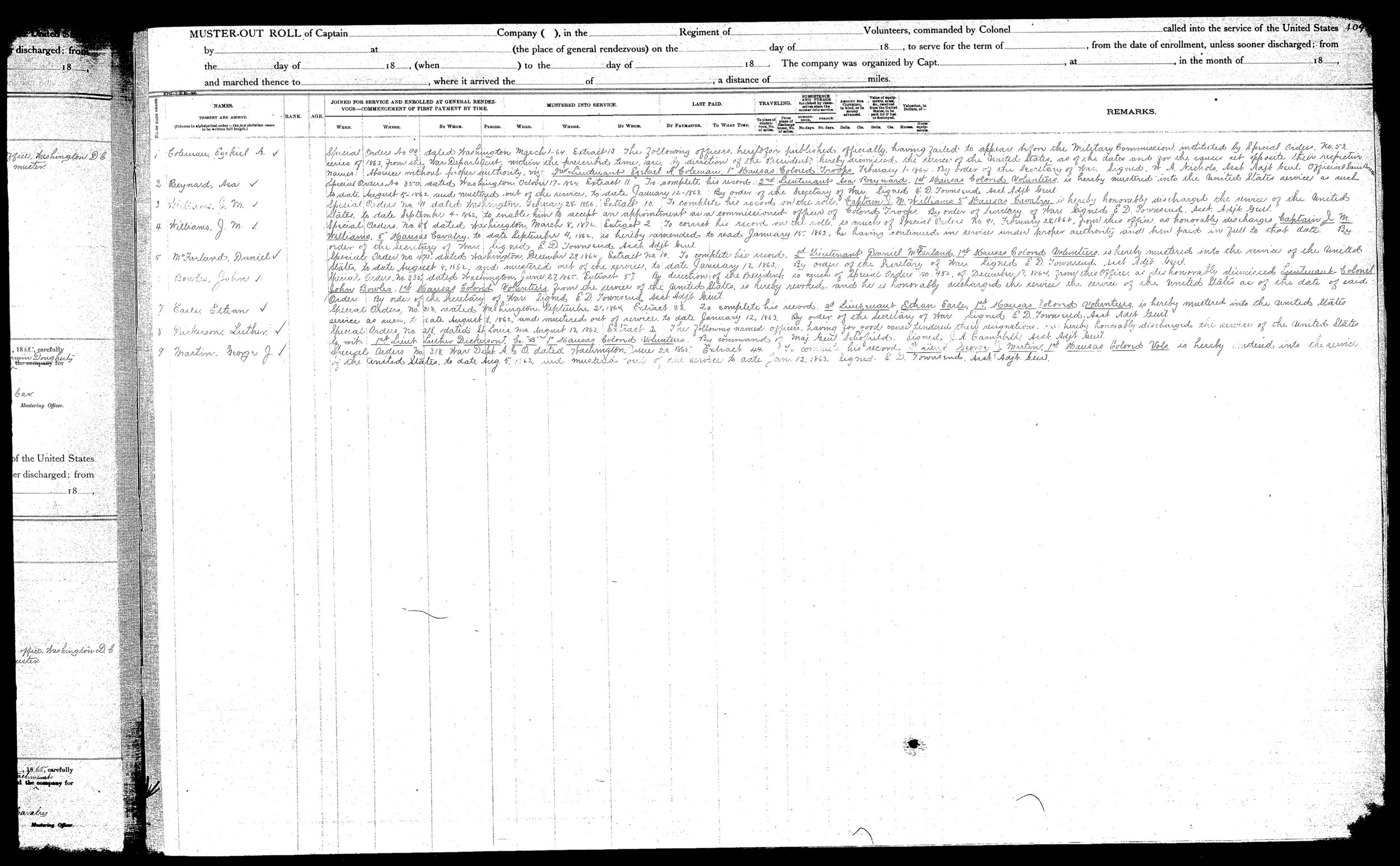 Muster out roll, Seventy-Ninth Regiment, United States Colored Infantry, formerly the First Kansas Colored Infantry, volume 7 - 42