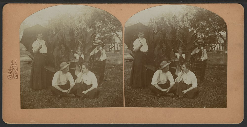 People in Carl Engel's garden in Manhattan, Kansas - 1
